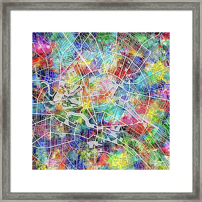 Berlin Map Watercolor Framed Print by Bekim Art