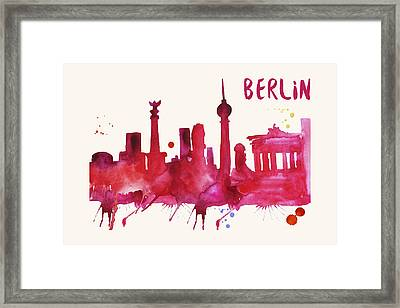 Berlin Skyline Watercolor Poster - Cityscape Painting Artwork Framed Print by Beautify My Walls