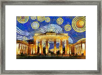 Berlin Starry Night Framed Print by Sly Morosow