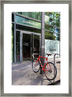 Berlin Street View With Red Bike Framed Print