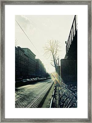 Berlin Street With Sun Framed Print
