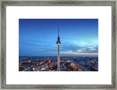 Framed Print featuring the photograph Berlin Television Tower by Marc Huebner