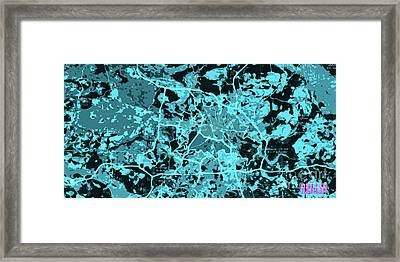 Berlin Traffic Abstract Blue Map Framed Print