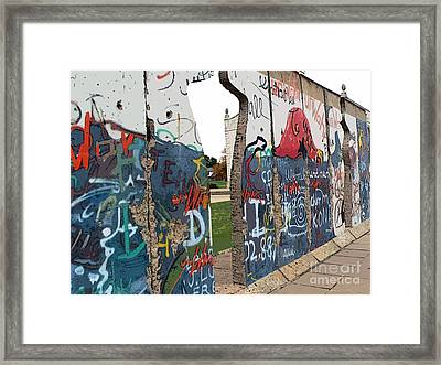 Berlin Wall Section At Westminster College Framed Print by David Bearden