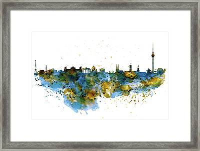 Berlin Watercolor Skyline Framed Print