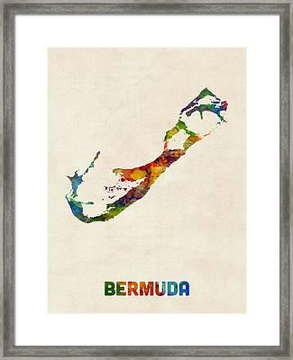 Bermuda Watercolor Map Framed Print