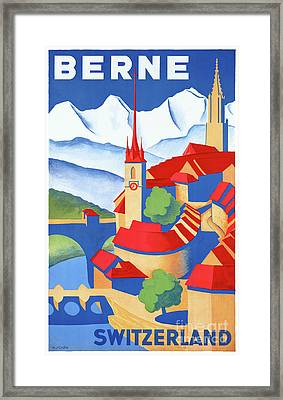 Bern Switzerland Vintage Travel Poster Restored Framed Print by Carsten Reisinger