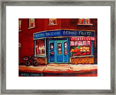 Bernard Fruit And Broomstore Framed Print by Carole Spandau