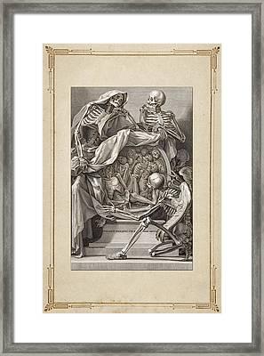 Bernardino Genga's Anatomia Per Uso Et Intelligenza Del Disegno - Allegorical Emblems Of Death.  Framed Print by Serge Averbukh