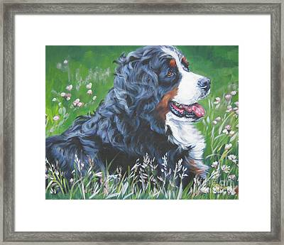Bernese Mountain Dog In Wildflowers Framed Print
