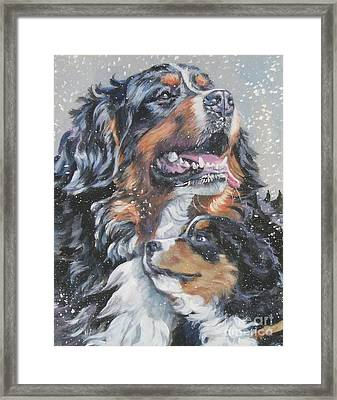 Bernese Mountain Dog With Pup Framed Print by Lee Ann Shepard