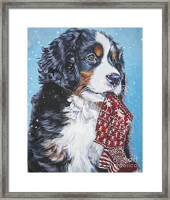 Bernese Mountain Dog Xmas Stocking Framed Print