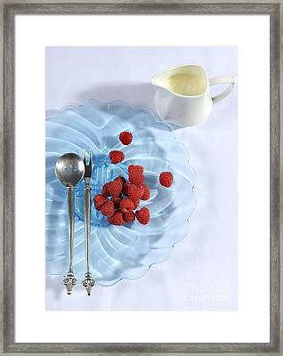 Berries And Cream Dessert Place Setting With Blue Vintage Art De Framed Print