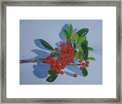 Framed Print featuring the mixed media Berries by Constance Drescher