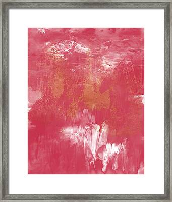 Berry And Gold- Abstract Art By Linda Woods Framed Print