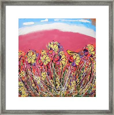 Berry Pink Flower Garden Framed Print