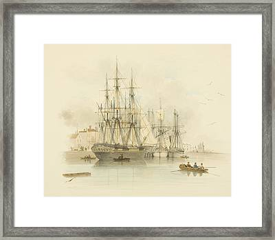 Berth Between The Two Mud Docks In The Grove Framed Print by Thomas Leeson the Elder Rowbotham