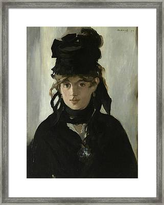 Berthe Morisot With A Bouquet Of Violets Framed Print by Edouard Manet