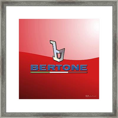 Bertone 3 D Badge On Red Framed Print by Serge Averbukh