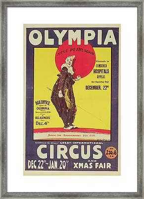 Bertram Mills Circus Poster Framed Print by Dudley Hardy