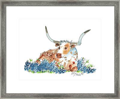 Bessie In The Bluebonnets Watercolor Painting By Kmcelwaine Framed Print