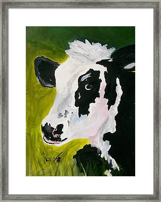 Bessy The Cow Framed Print by Leo Gordon