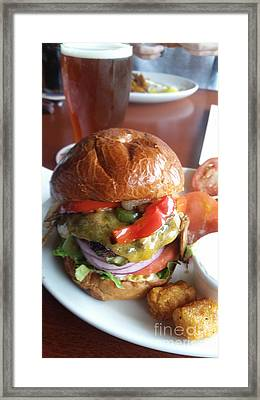 The World's Best Burger And Beer Framed Print by Carol  Eliassen