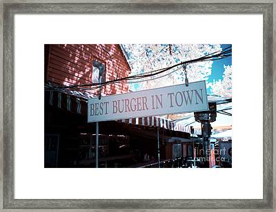 Best Burger In Town Framed Print by John Rizzuto