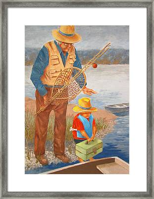 Framed Print featuring the painting Best Fishing Buddy by Tony Caviston