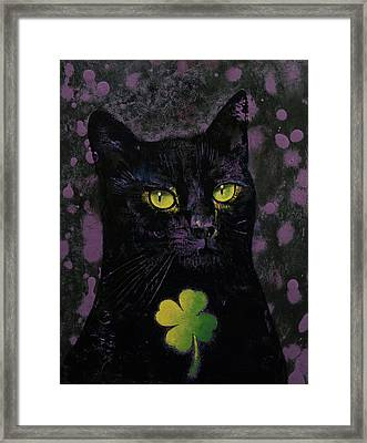 Lucky Black Cat Framed Print by Michael Creese