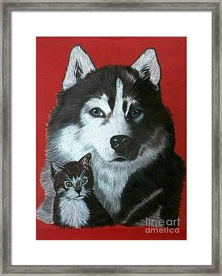 Framed Print featuring the drawing Best Friends by Terri Mills
