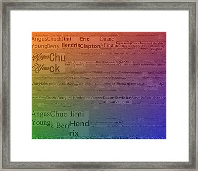 Best Guitarists Typography Framed Print by Dan Sproul
