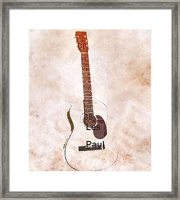 Best Guitarists Typography Warm Framed Print by Dan Sproul