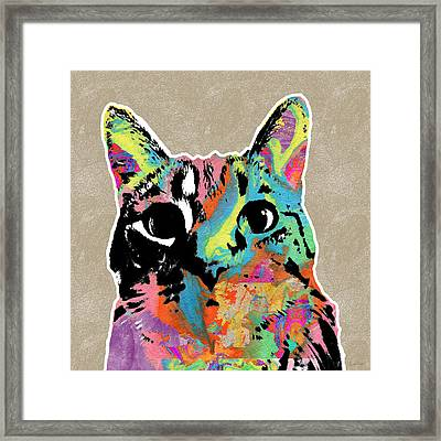 Best Listener Kitty- Pop Art By Linda Woods Framed Print