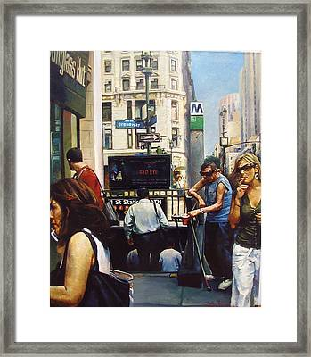 Best Play Off Broadway - Fake Blind Beggar Framed Print by Seahawk Wang-Radojcic