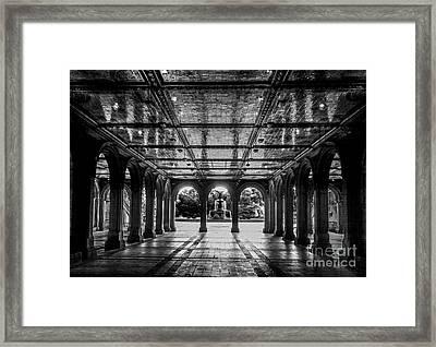 Bethesda Terrace Arcade 2 - Bw Framed Print by James Aiken