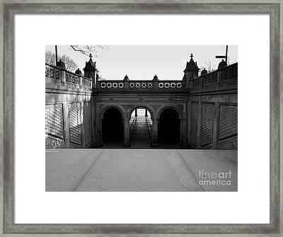 Bethesda Terrace In Central Park - Bw Framed Print by James Aiken