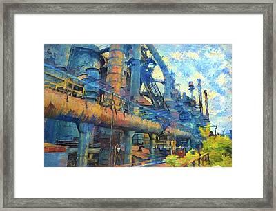 Bethlehem Steel Mill Watercolor Framed Print by Bill Cannon