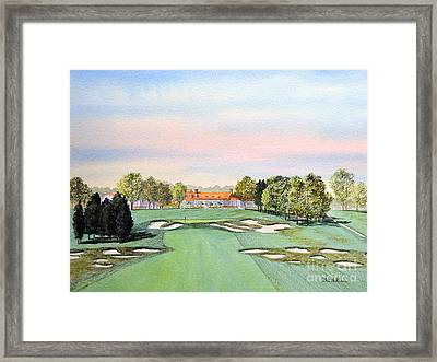 Framed Print featuring the painting Bethpage State Park Golf Course 18th Hole by Bill Holkham