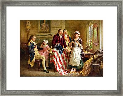 Betsy Ross And General George Washington Framed Print