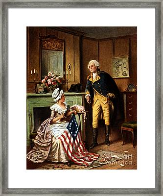 Betsy Ross And George Washington Framed Print by Science Source