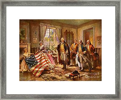 Betsy Ross Showing Flag To George Washington. Framed Print by Pg Reproductions