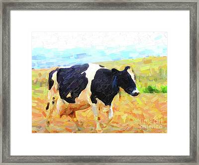 Betsy The Milk Cow Coming Home Framed Print by Wingsdomain Art and Photography