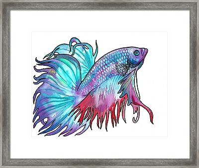 Framed Print featuring the painting Betta Fish by Jenn Cunningham
