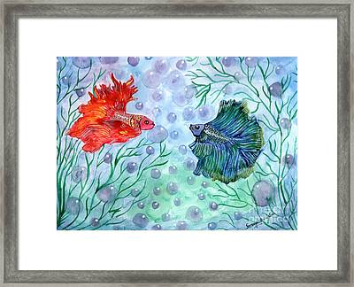 Framed Print featuring the painting Betta Magic by Saranya Haridasan