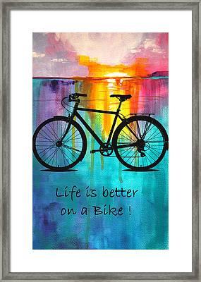 Better On A Bike Framed Print by Nancy Merkle