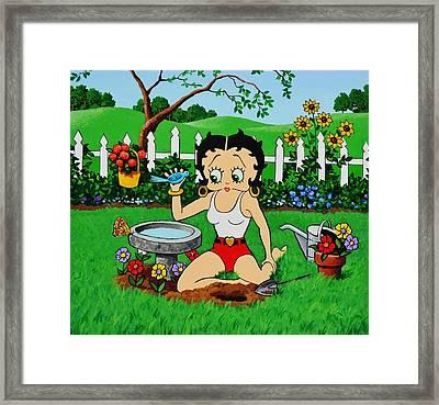 Betty Boop In Her Garden Framed Print by Thomas Kolendra