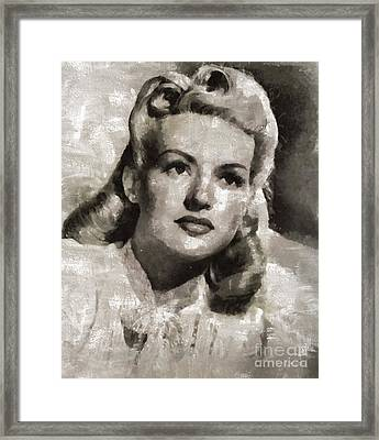 Betty Grable, Vintage Actress And Pinup By Mary Bassett Framed Print by Mary Bassett