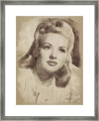 Betty Grable, Vintage Hollywood Actress And Pinup Framed Print by John Springfield