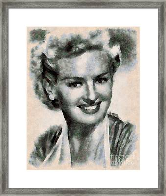 Betty Grable Vintage Hollywood Pinup Framed Print by Sarah Kirk